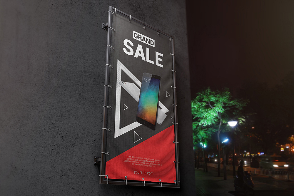 Vertical Outdoor Advertising Banner Mockup example image 2