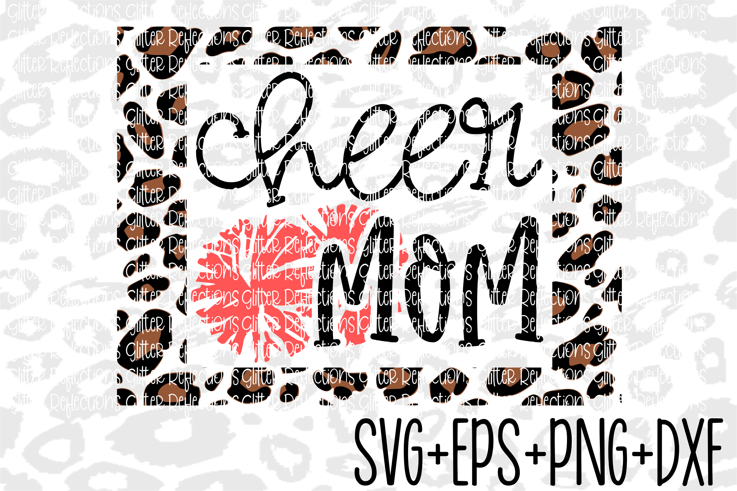 Cheer Mom Svg- Leopard Cheer Mom Frame example image 1