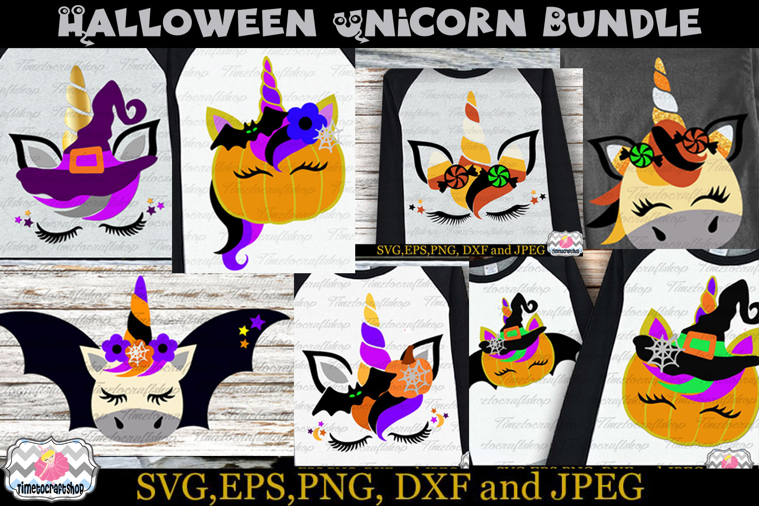 SVG, Eps, Dxf & Png Files For Halloween Unicorn Bundle example image 1