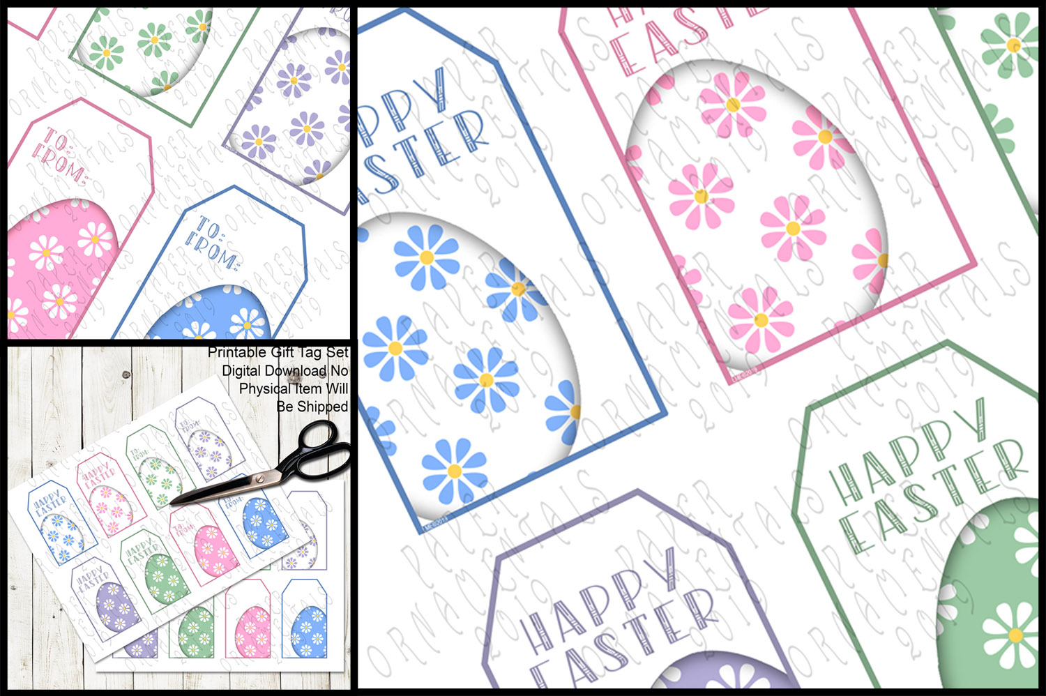 Printable Easter Gift Tags, Pastel Easter Eggs example image 3