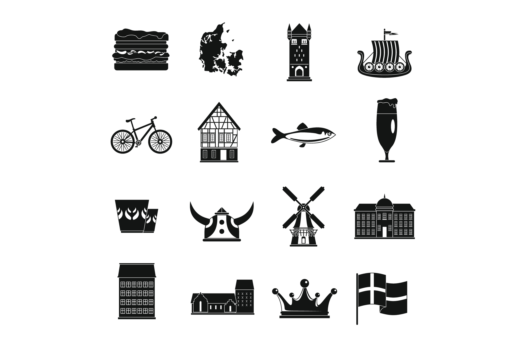 Denmark travel icons set, simple style example image 1