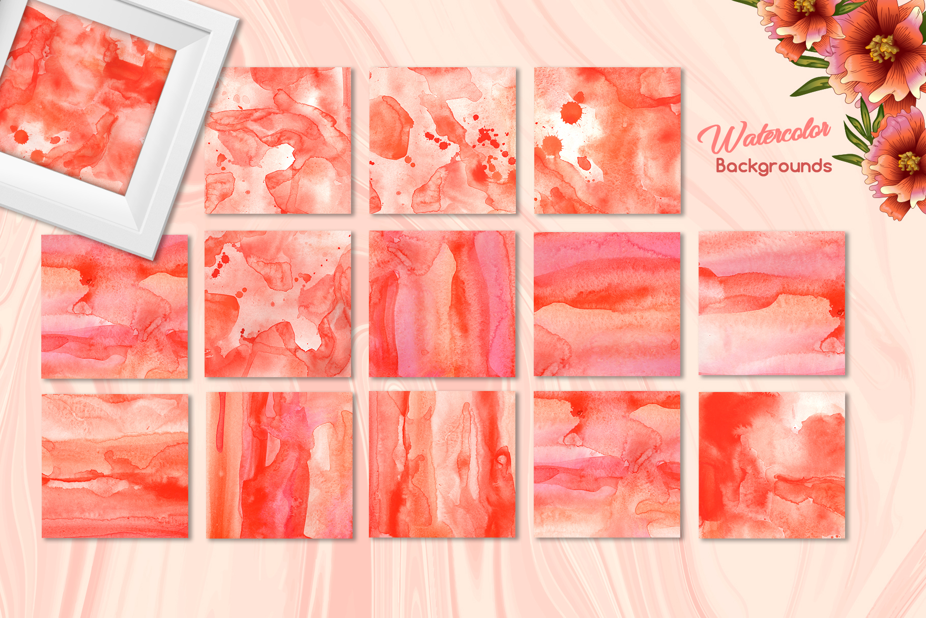 Living coral attributes set Watercolor png example image 9