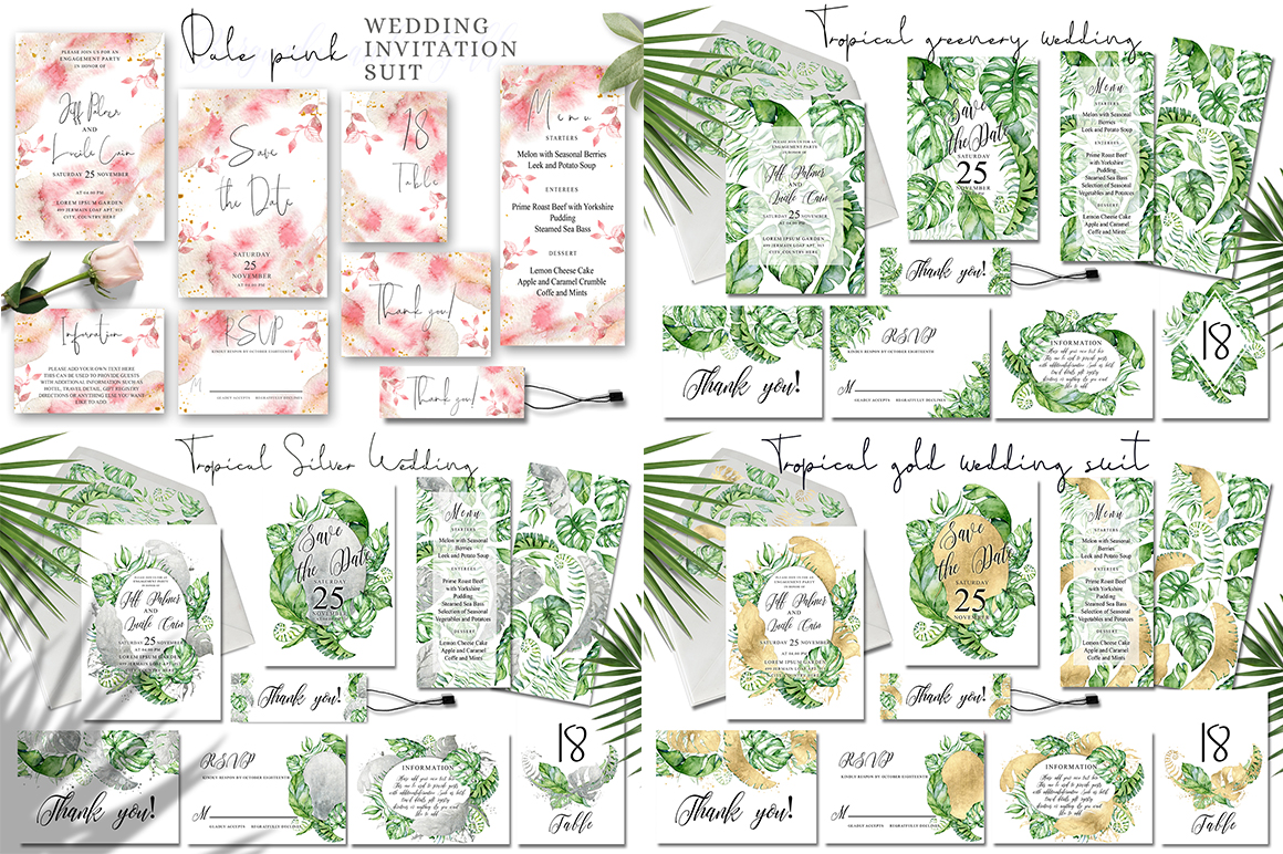 Watercolor Wedding Invitations Suits  GIANT BUNDLE