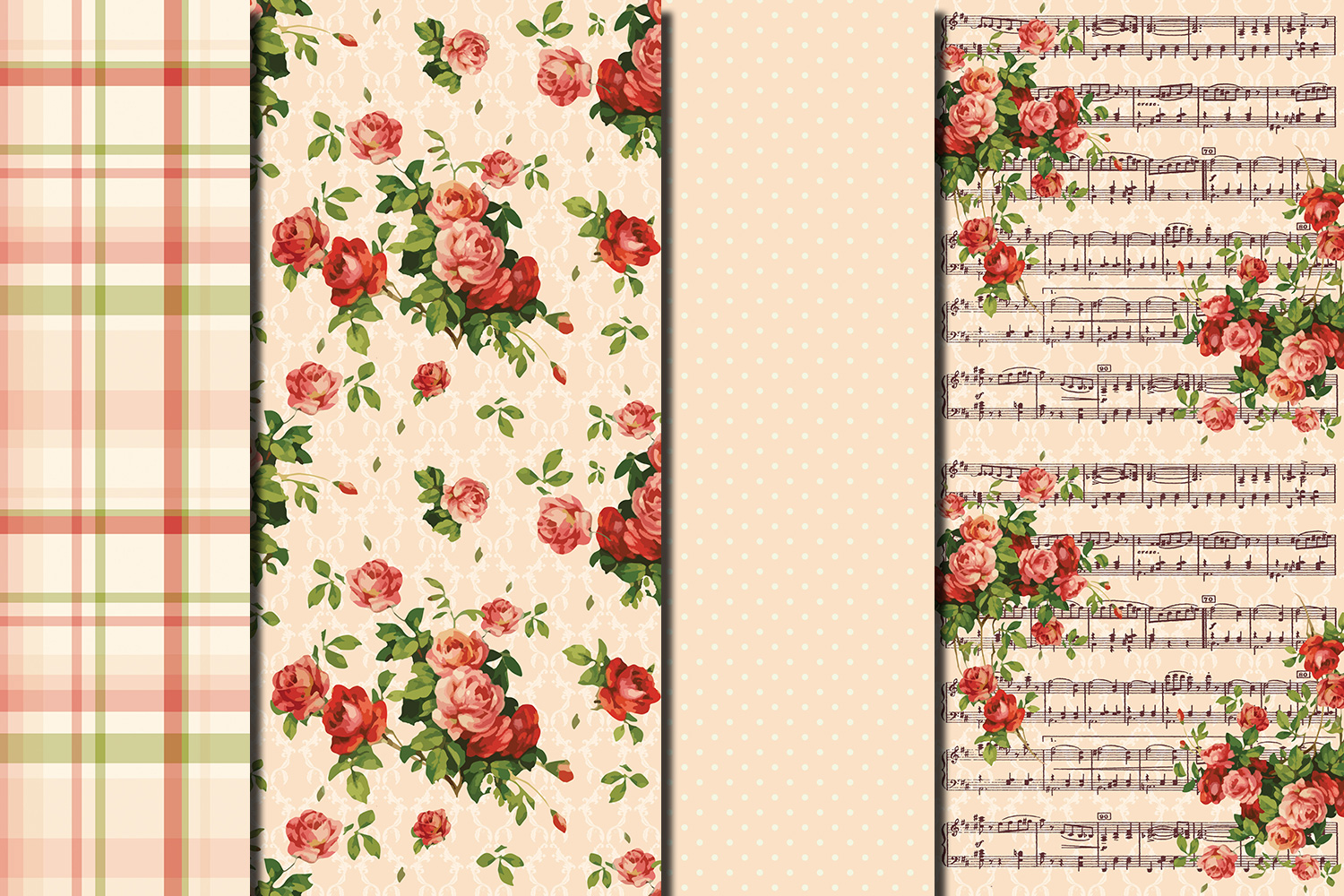 Shabby chic pink roses seamless digital paper pack example image 4