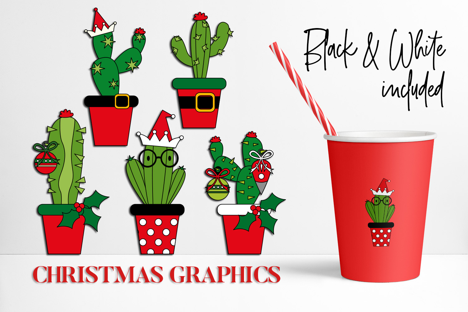 Christmas Bundle, Cactus and Flowers Illustrations example image 3