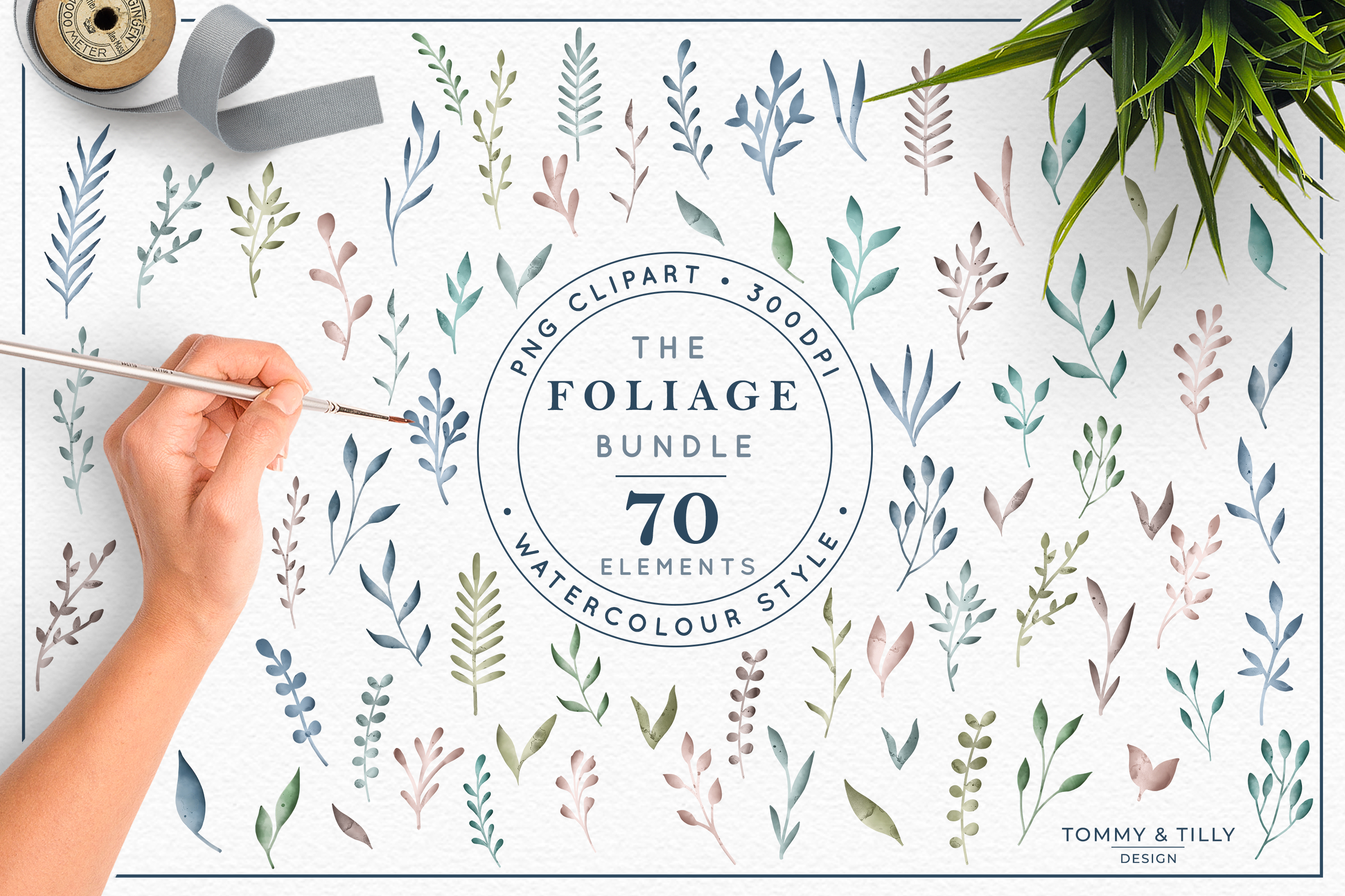 The Foliage Bundle Watercolour - Wedding Flower Clipart PNG example image 1