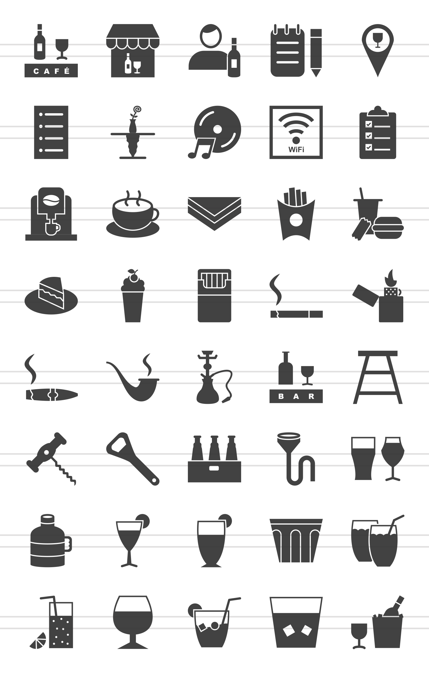40 Cafe & Bar Glyph Icons example image 2