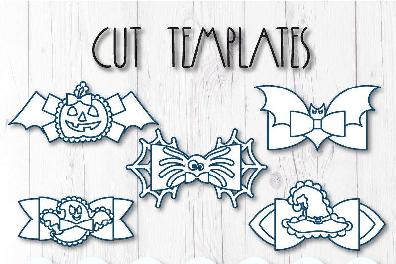 5 Hair bow template SVG, Halloween faux leather bow template example image 7