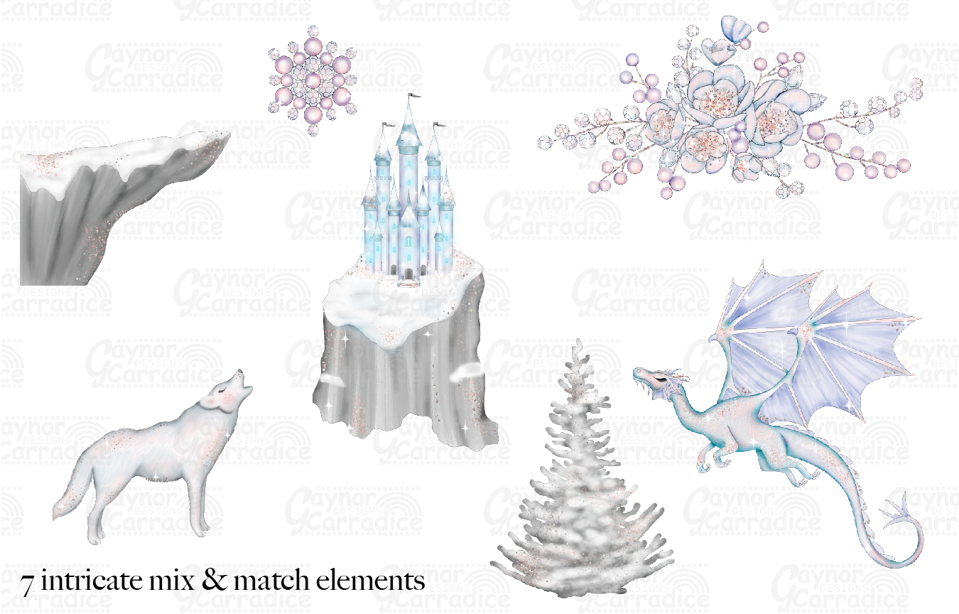 A Winters Tale- Ice Princess Fairy tale Clipart example image 3