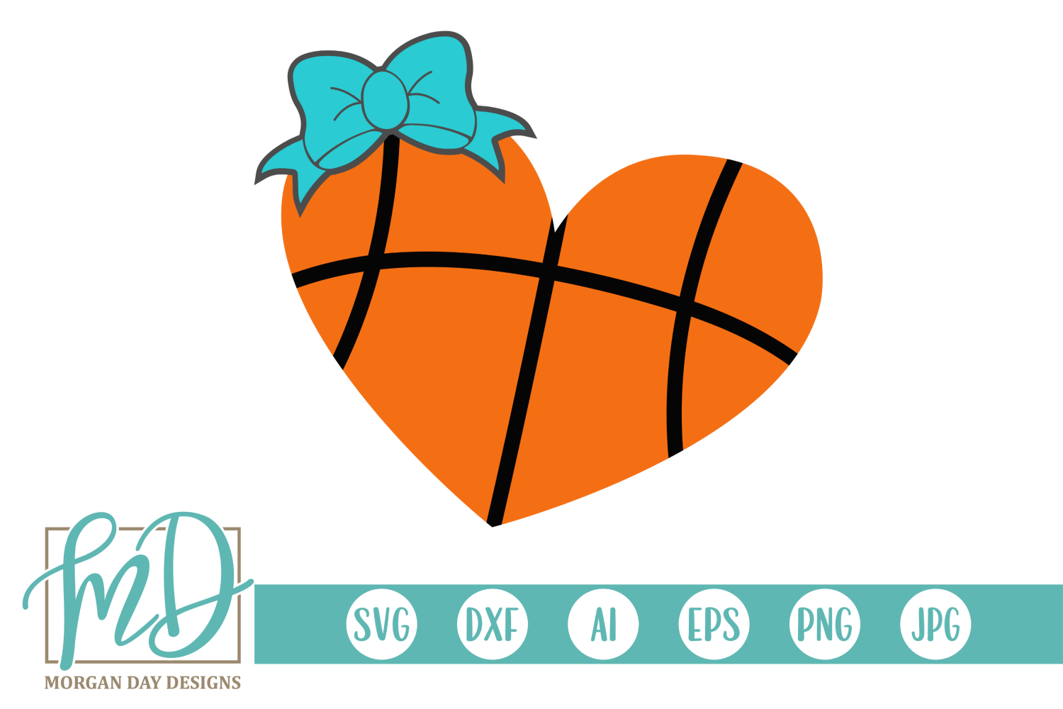 Basketball Heart SVG, DXF, AI, EPS, PNG, JPEG example image 1