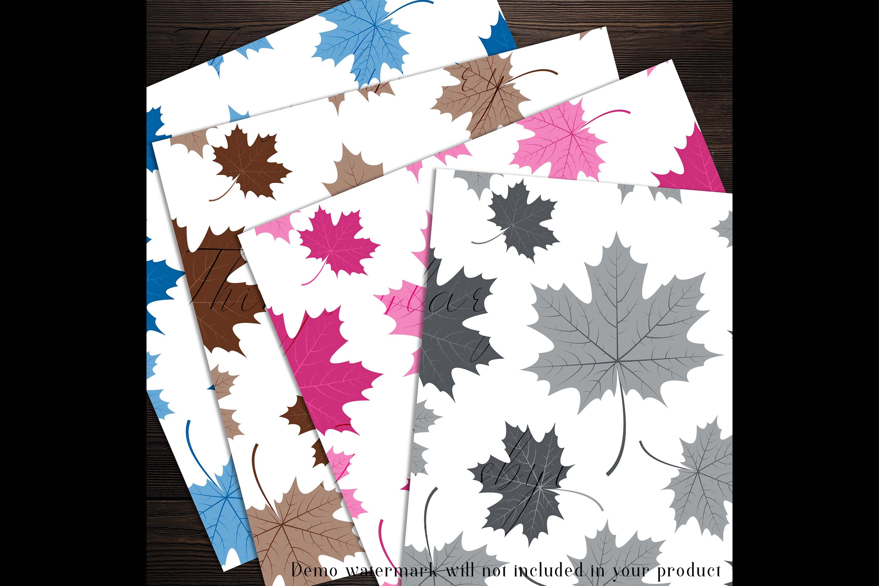 100 Seamless Color Autumn Leaves Pattern Digital Papers example image 5