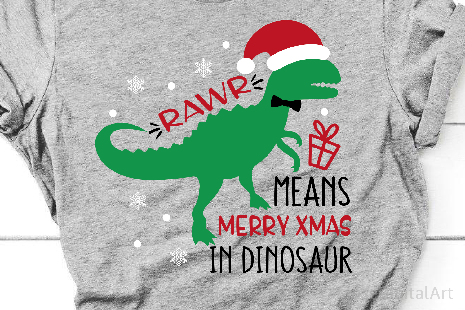 Rawr Means Merry Christmas in Dinosaur, Kids Christmas Svg example image 1