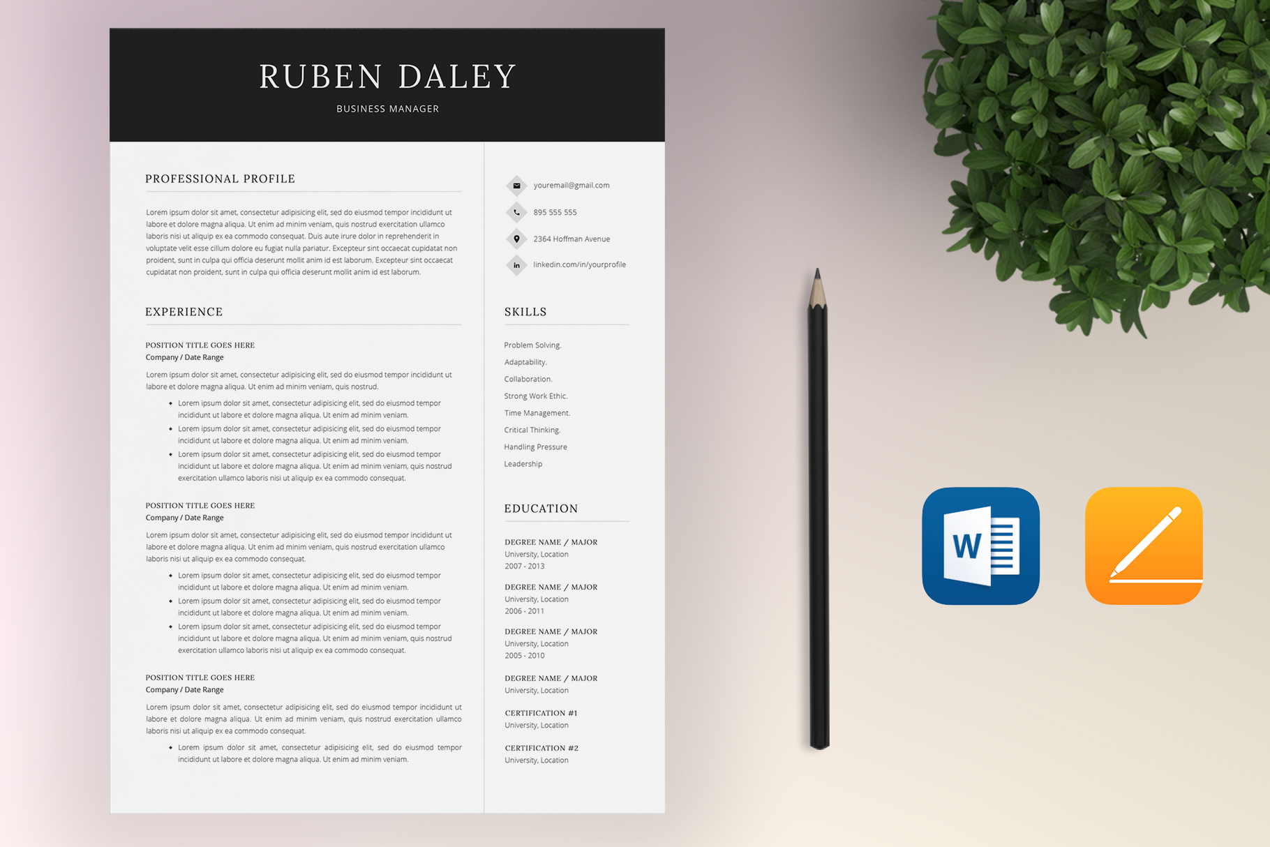 Resume Template Bundle | 4 Pages and Cover Letter example image 3