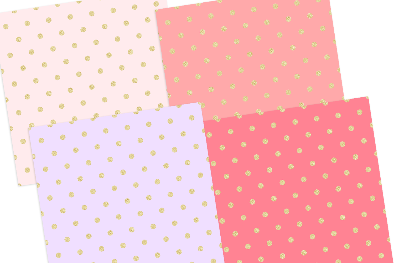Gold Pastel Polka Dot Pattern Digital Papers example image 2