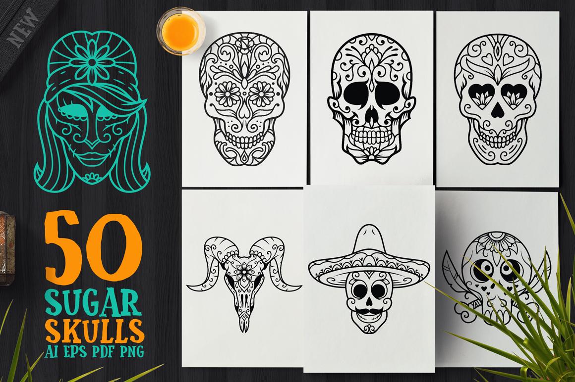 50 Vector Sugar Skulls example image 1