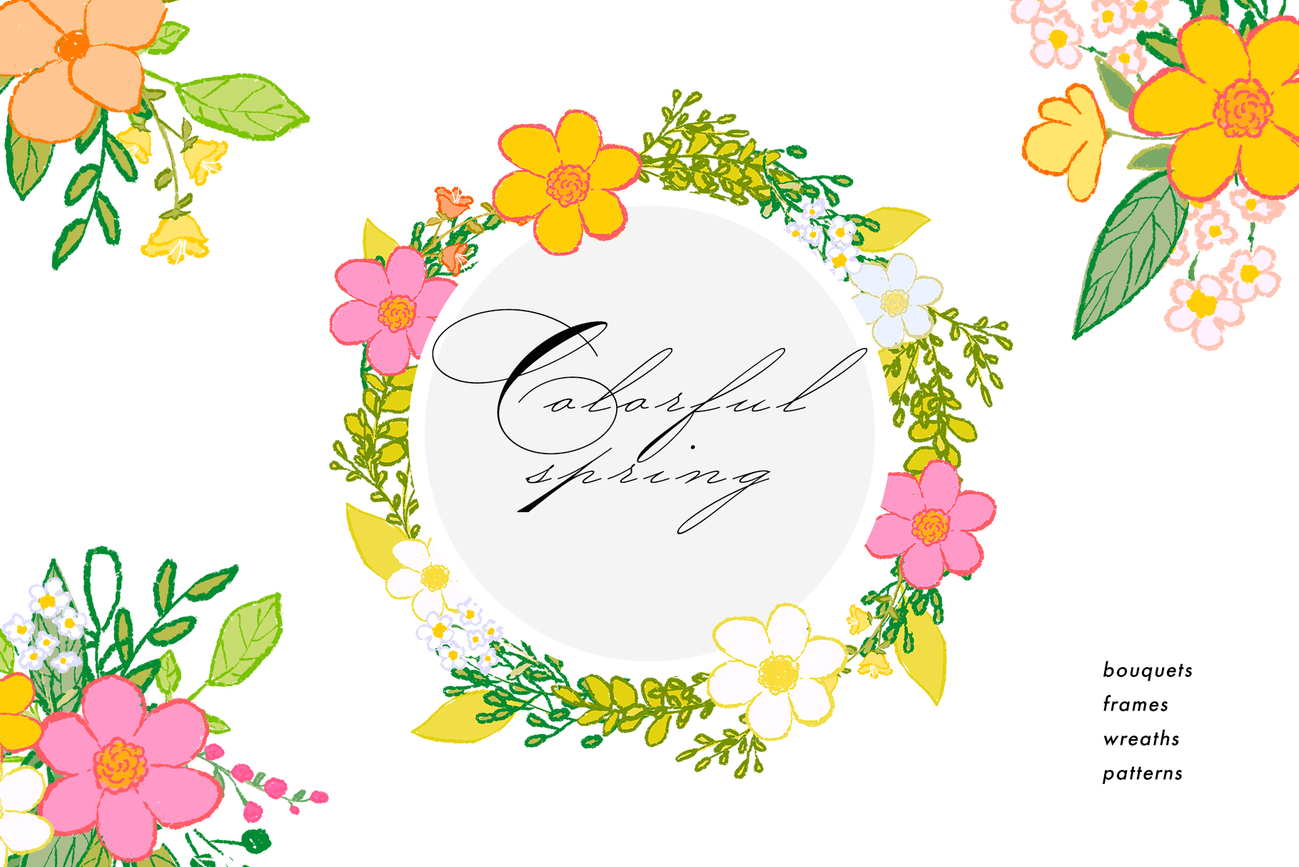 Hand draw colorful spring flowers example image 1
