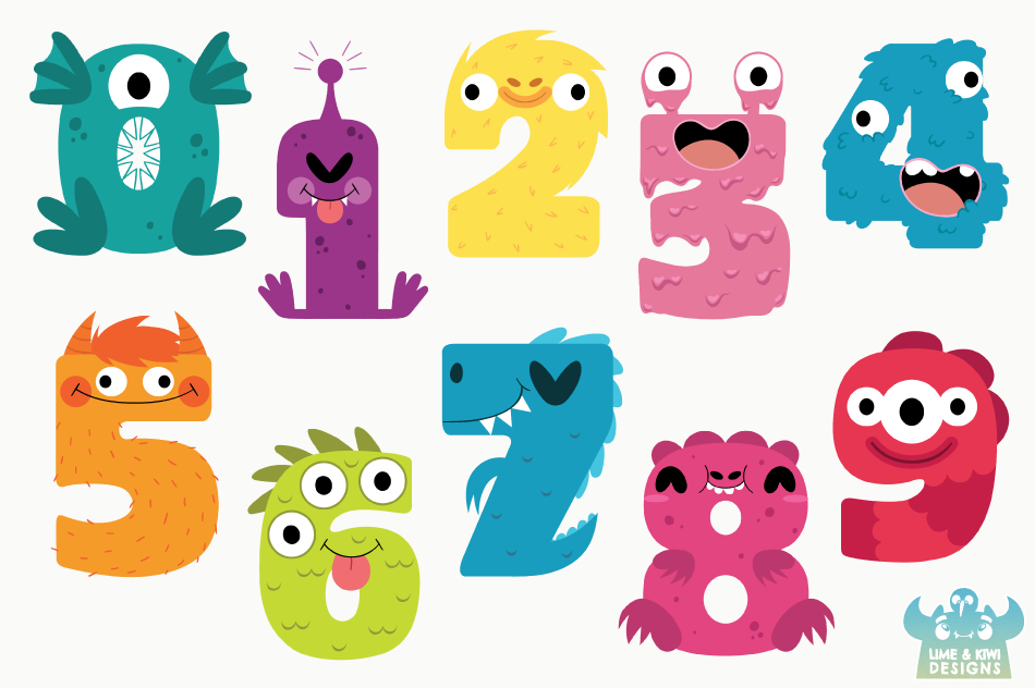 Monster Numbers Clipart, Instant Download Vector Art example image 2