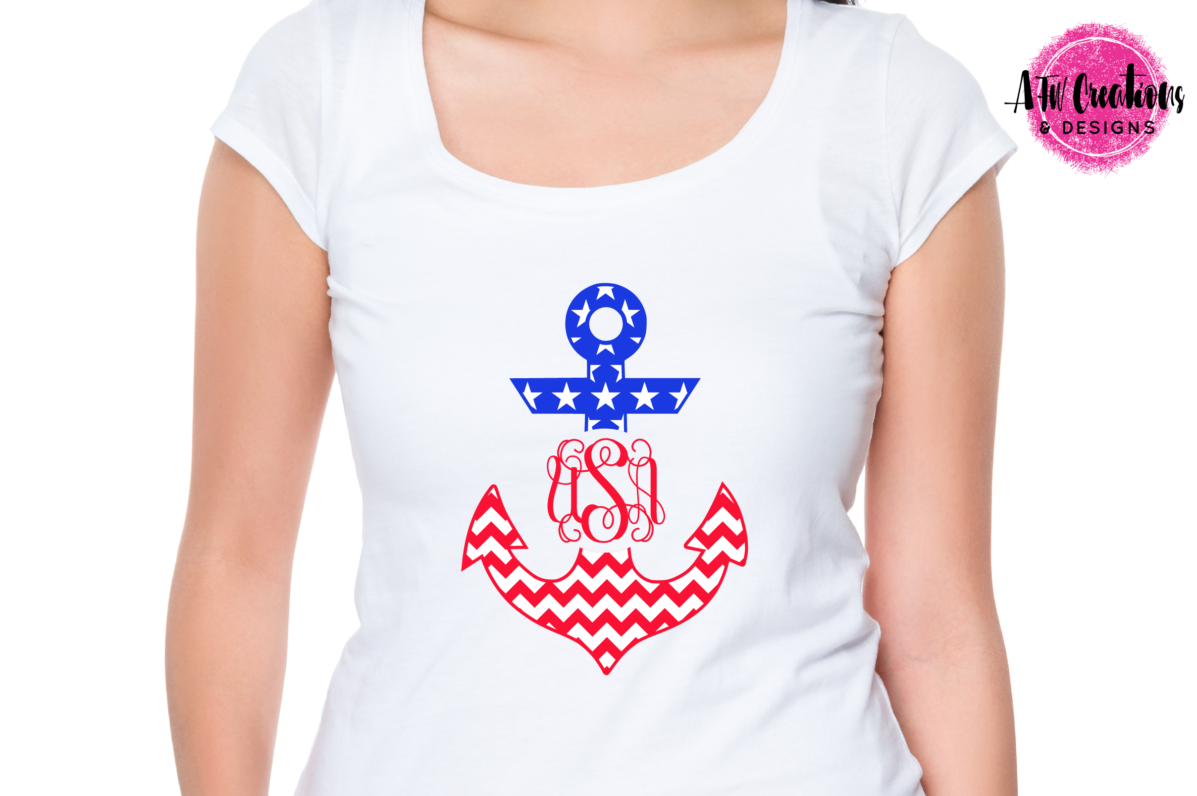 Patriotic Monogram Anchors - SVG, DXF, EPS Cut Files example image 3
