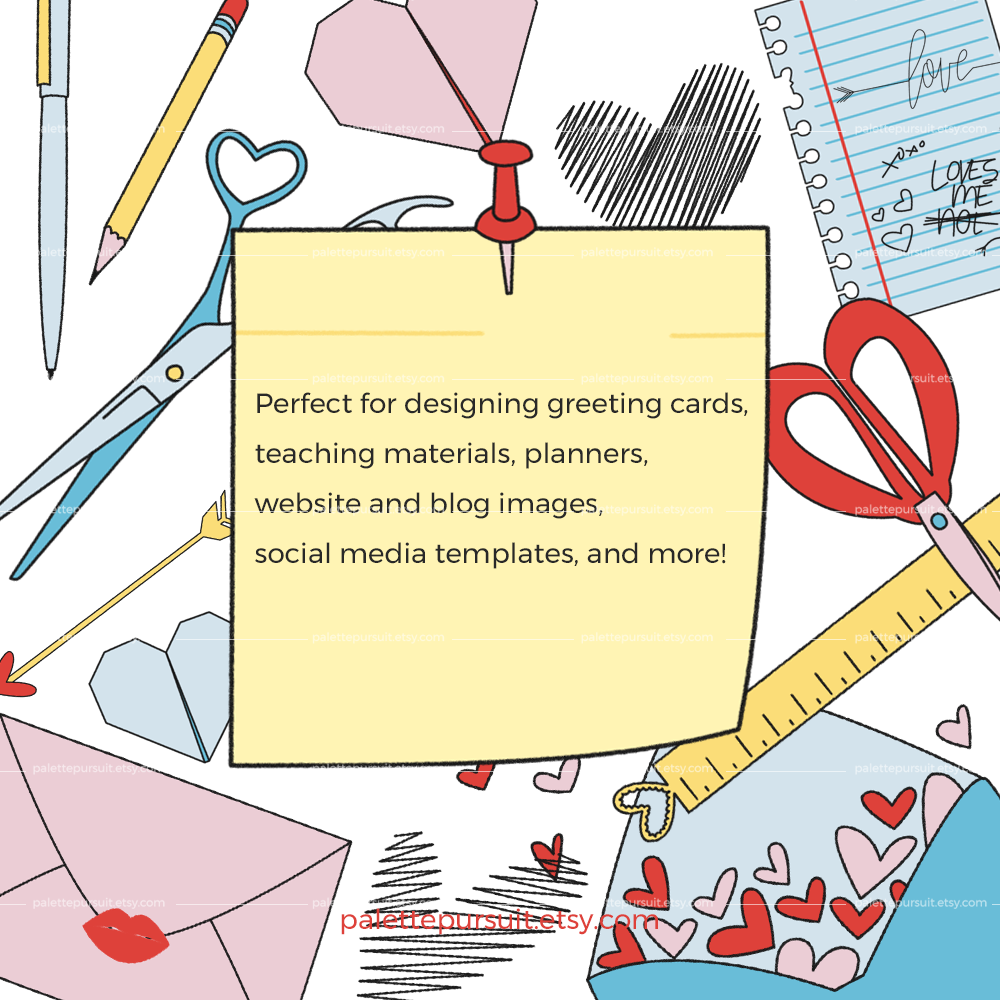 Office and School Supplies Clip Art in Love Theme example image 4