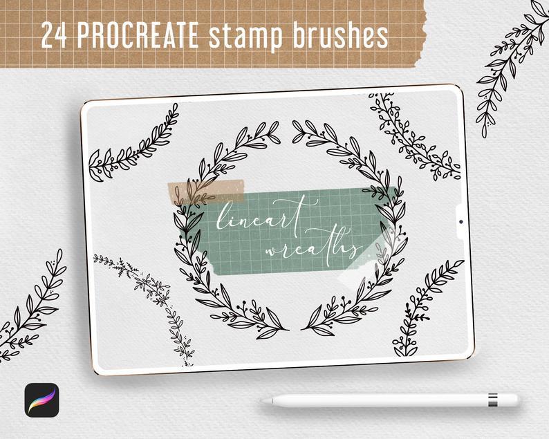Procreate Stamp Brushes Bundle - 122 elements   Botanical example image 3