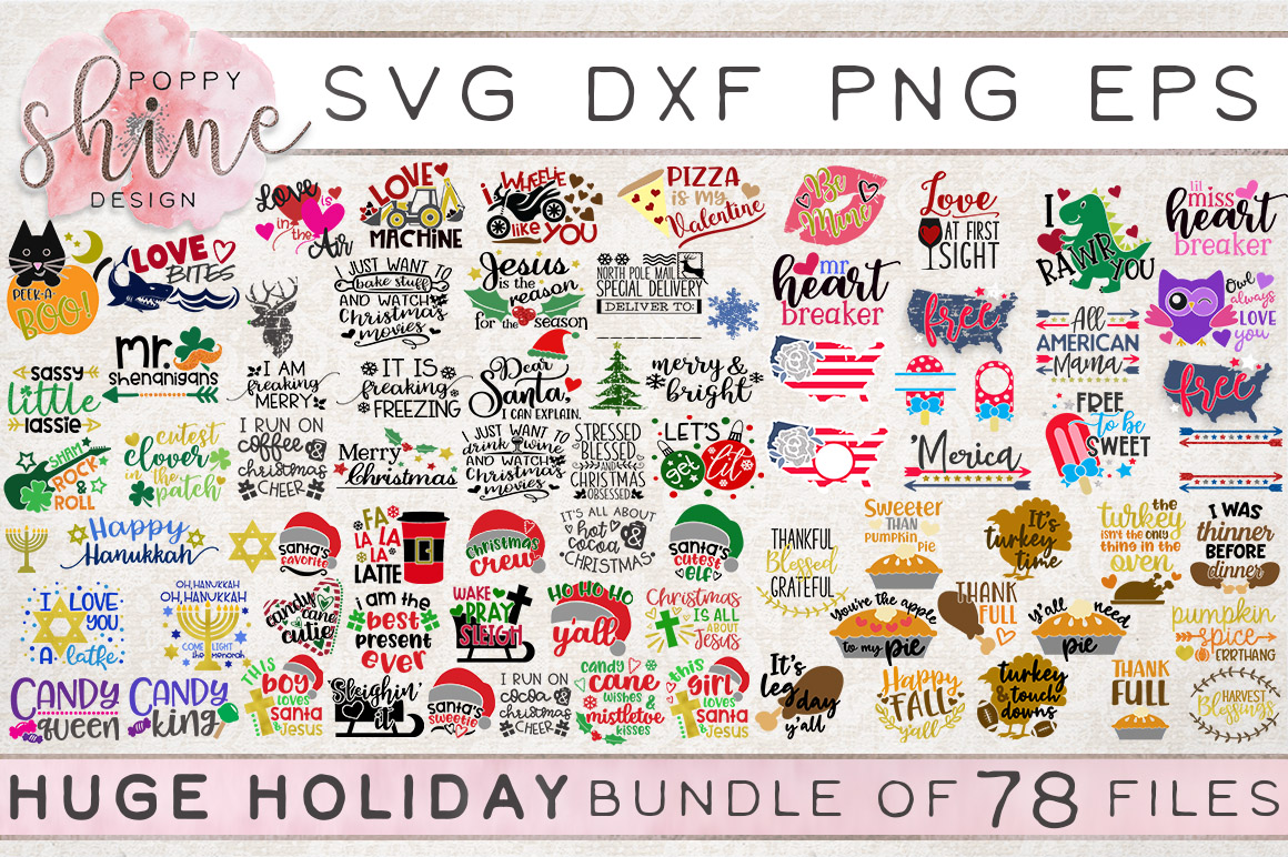 HUGE Holiday Bundle of 78 SVG PNG EPS DXF Cutting Files example image 1