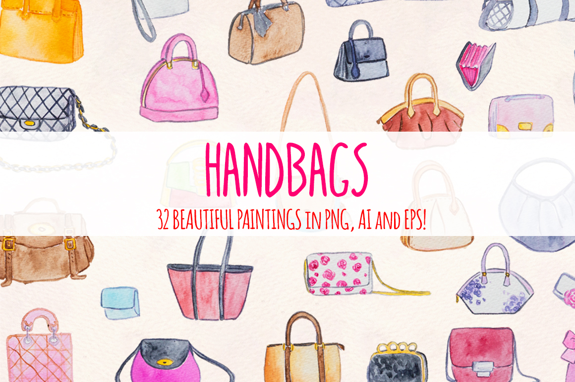 32 Womens Handbags Purses Watercolor Paintings example image 2