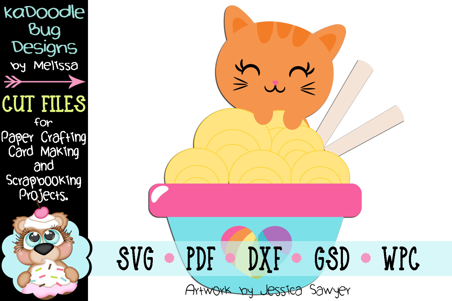 Cat Peeking Over Noodles Cut File - SVG PDF DXF GSD example image 1