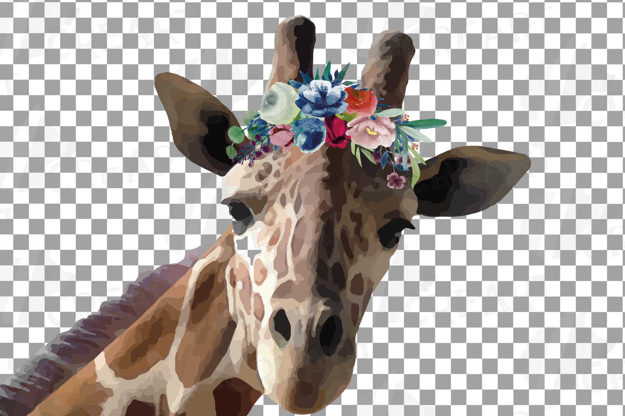 Floral crown giraffe animal wall art. Watercolour giraffe. example image 4