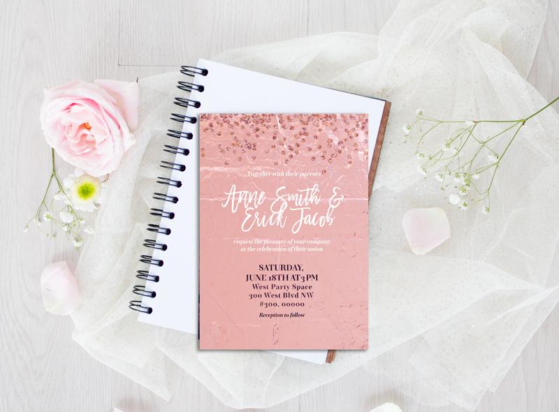 rose gold foil scrapbooking, Confetti Digital Paper, Rose Gold Glam Digital Paper, rose gold glitter foil Metallic texture, planner stickers example image 4