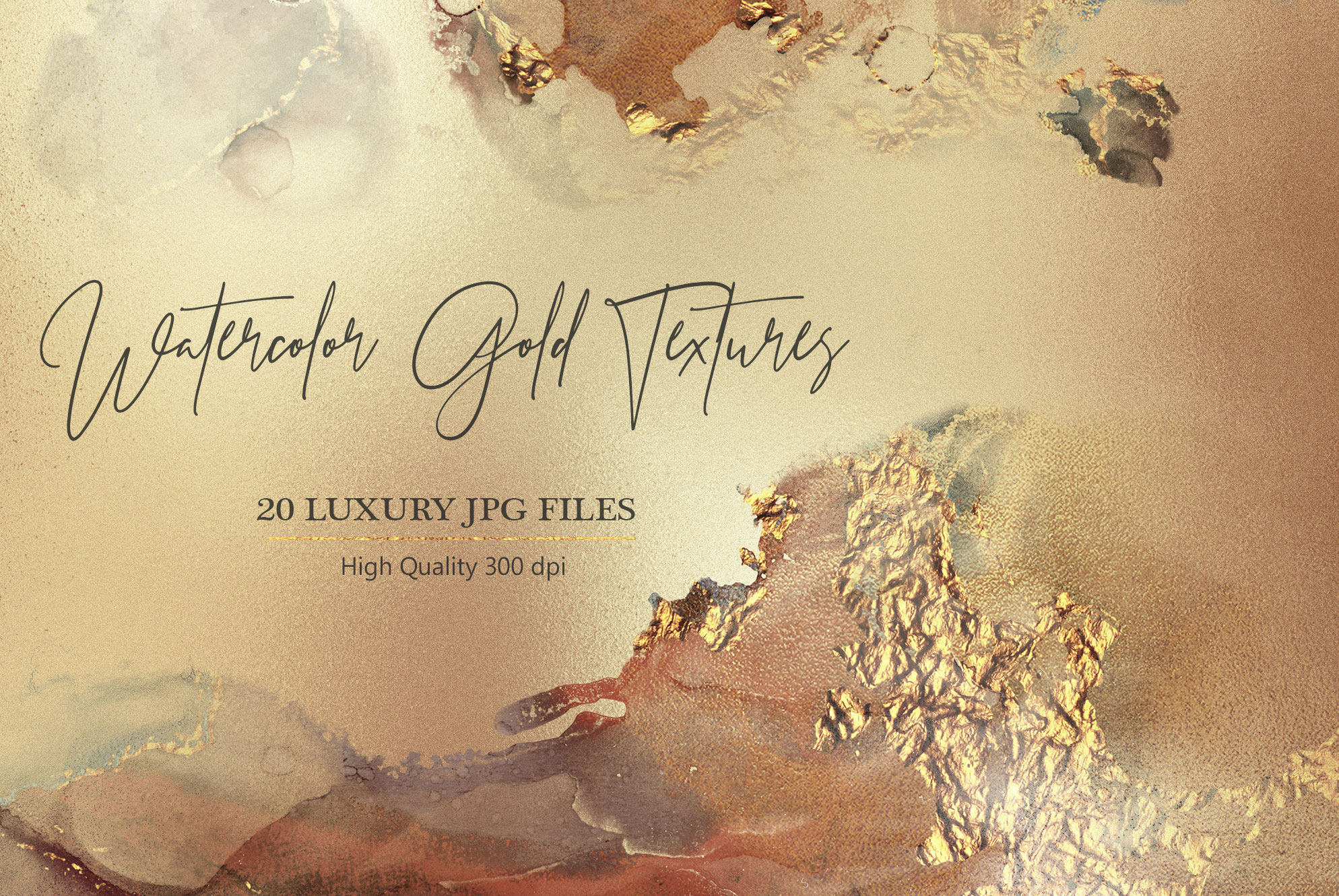 Gold Watercolor and Foil JPG-PNG Textures-BUNDLE example image 7