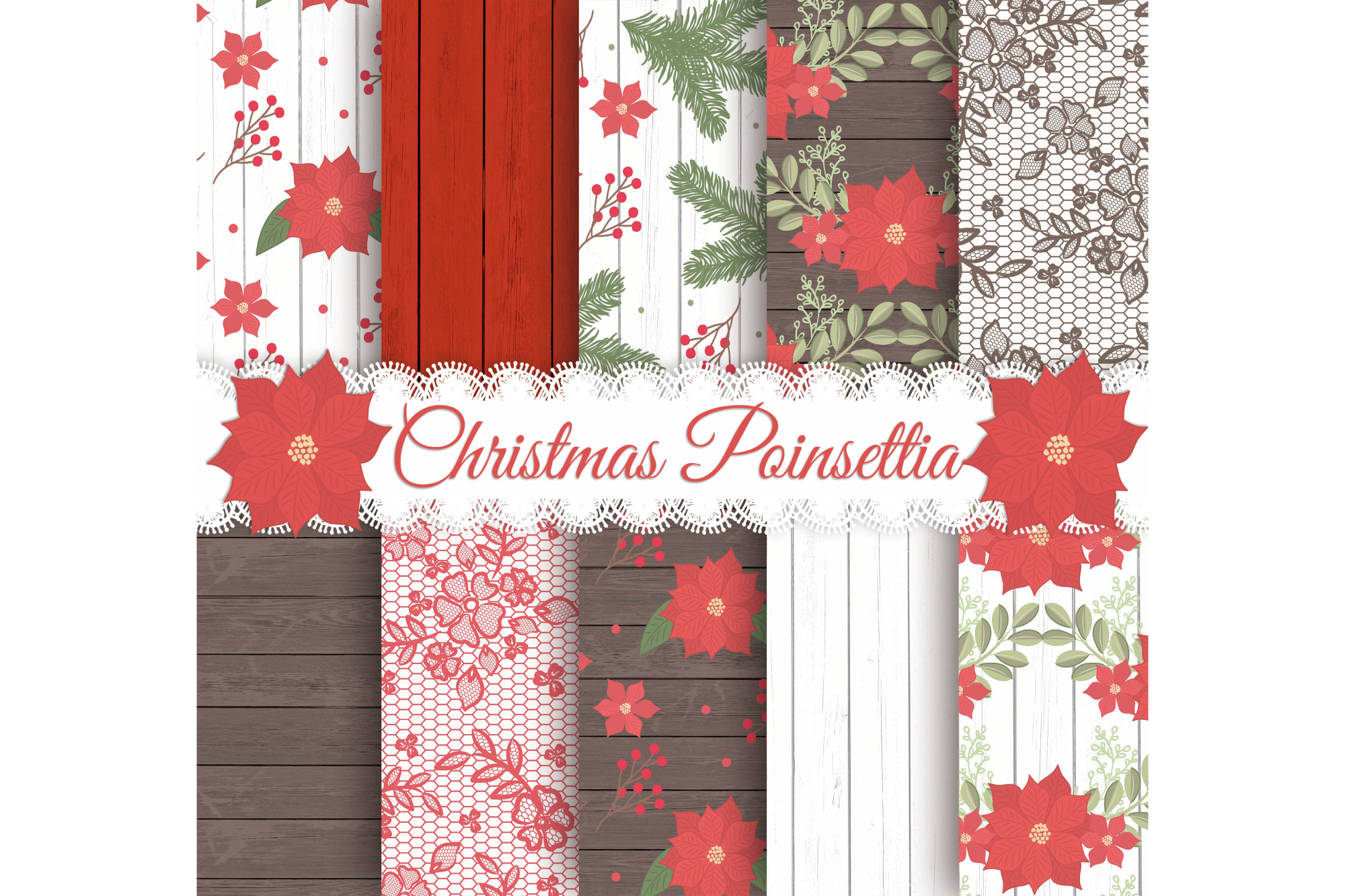 Rustic christmas digital papers example image 1