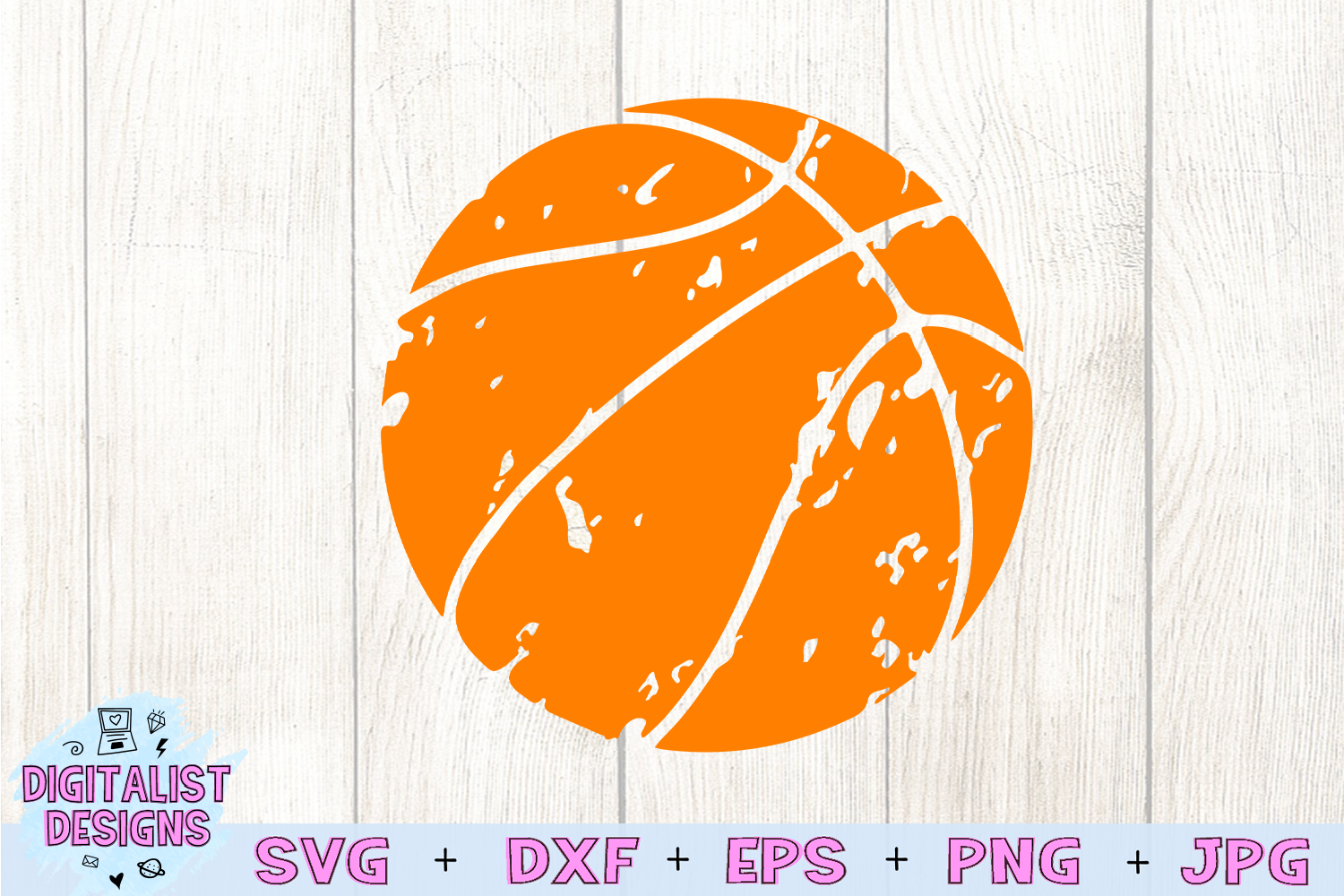 Distressed basketball svg, basketball clipart example image 3