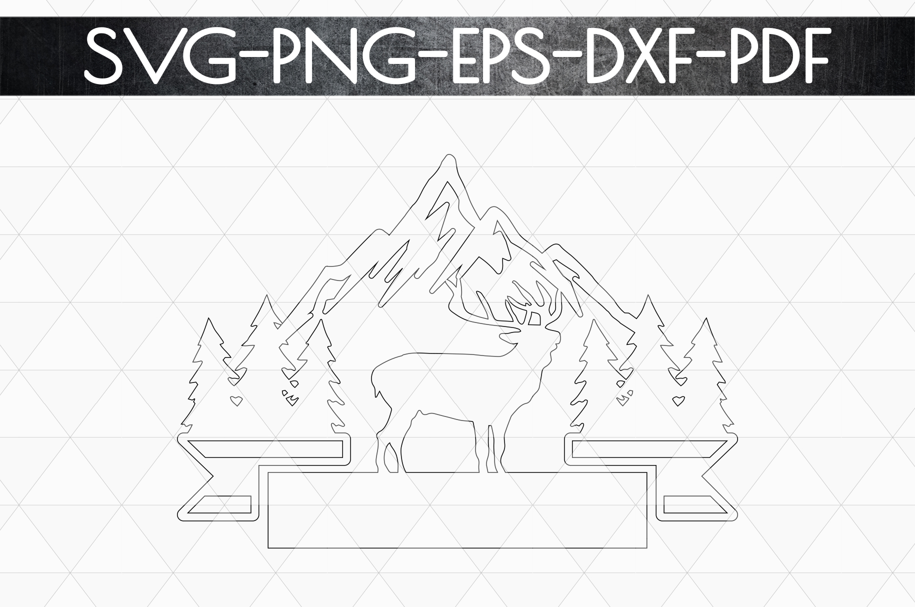 Wild Reindeer Sign Papercut Template, Adventure SVG, DXF PDF example image 5