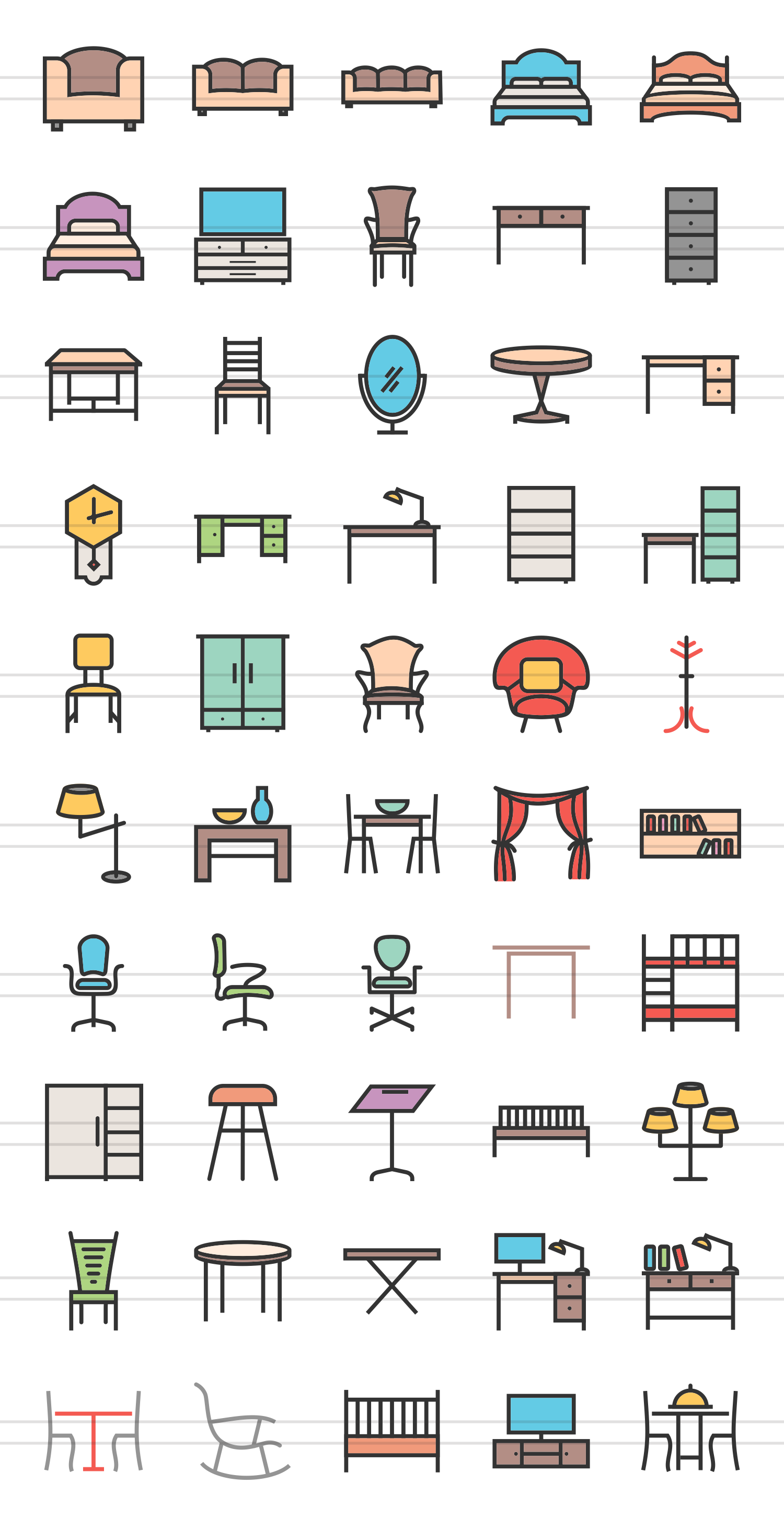 50 Furniture Linear Multicolor Icons example image 2