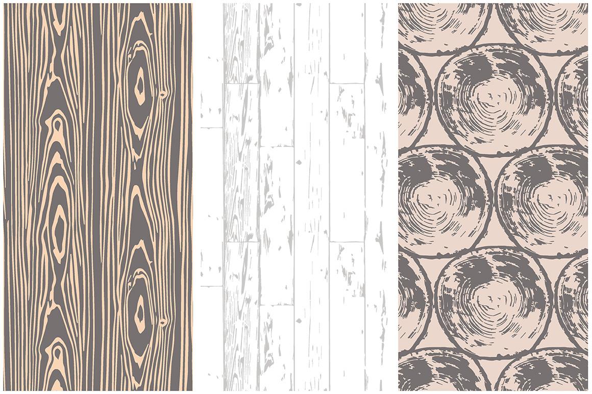 Woodgrain Seamless Vector Patterns example image 3