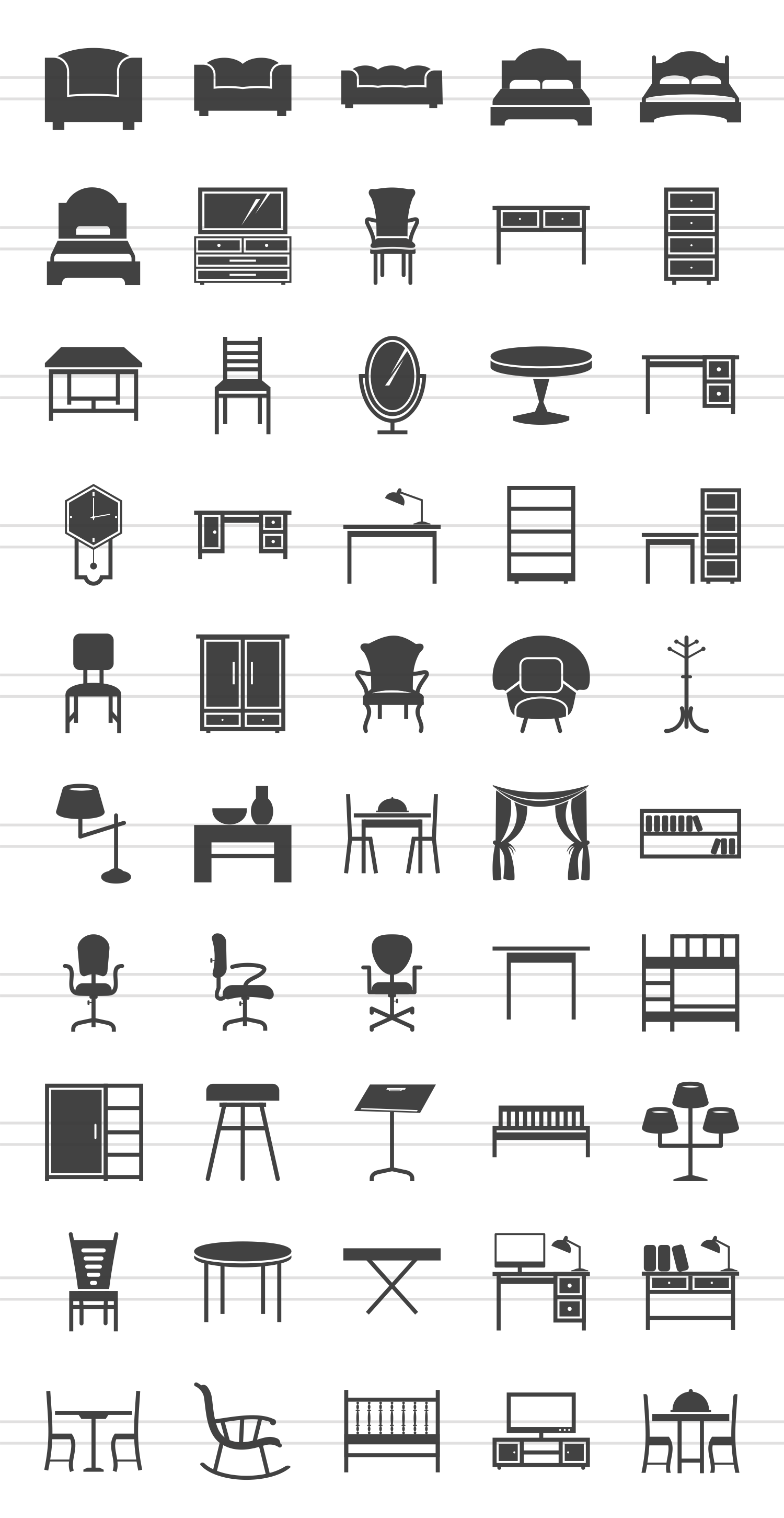 50 Furniture Glyph Icons example image 2