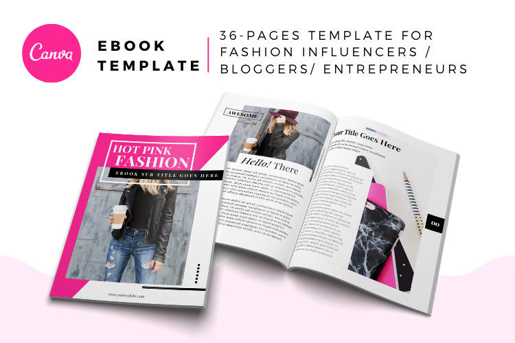 Hot Pink Fashion Canva template Ebook example image 2