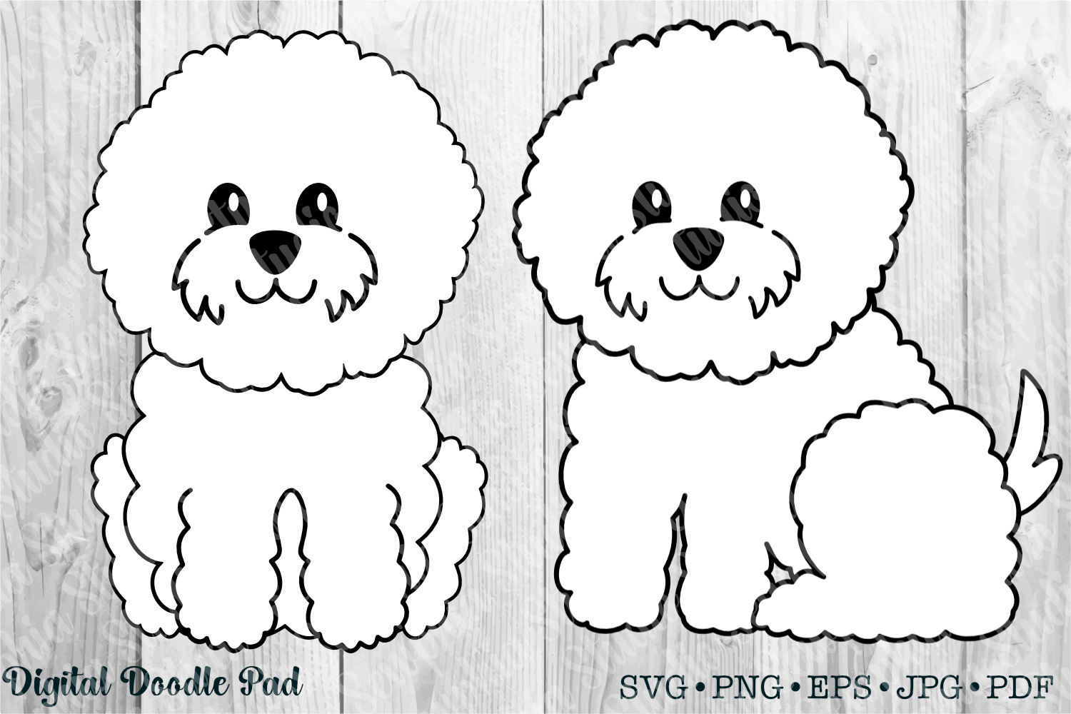 Cute Bichon Set by Digital Doodle Pad example image 1