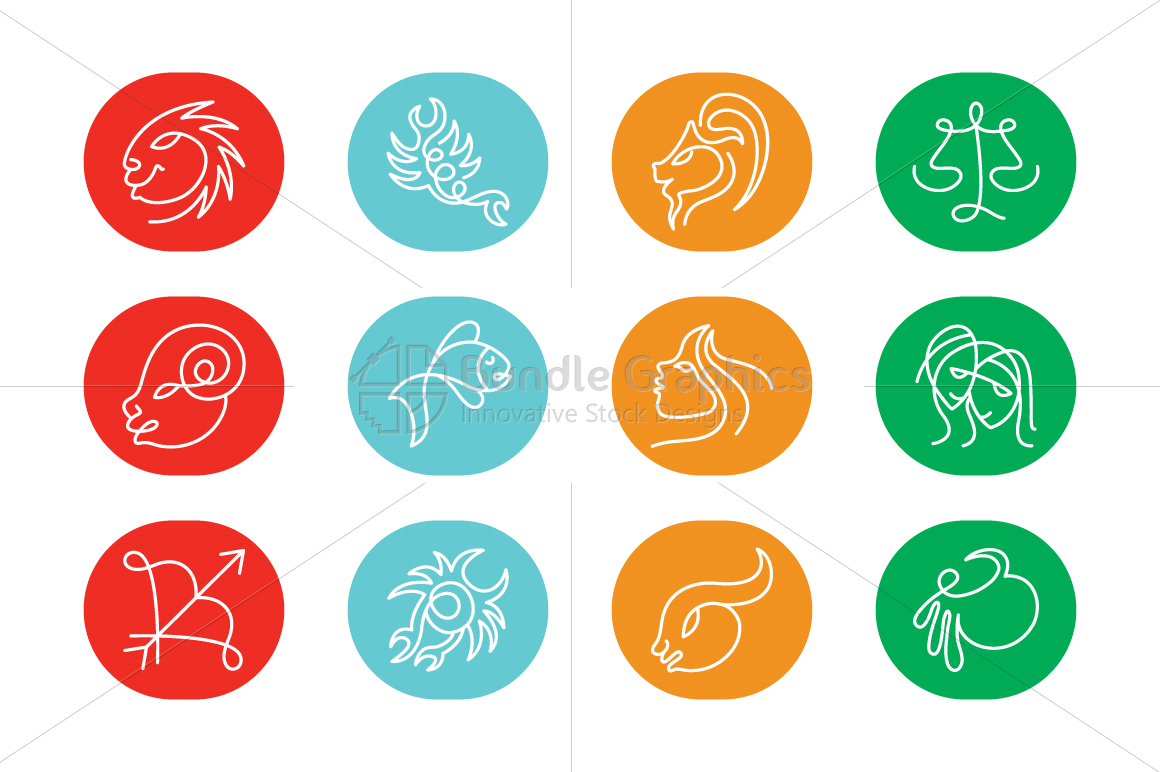 Linear Style Zodiac Signs - Icon Set example image 1
