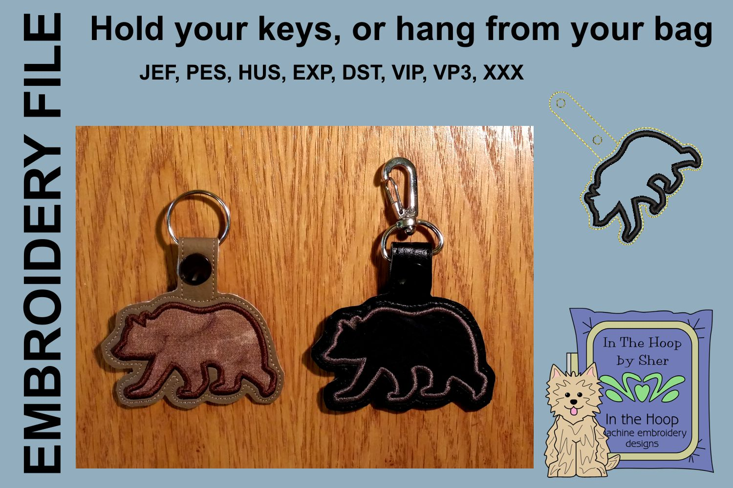 ITH Silhouette Bear Key Fob - Embroidery Design example image 1