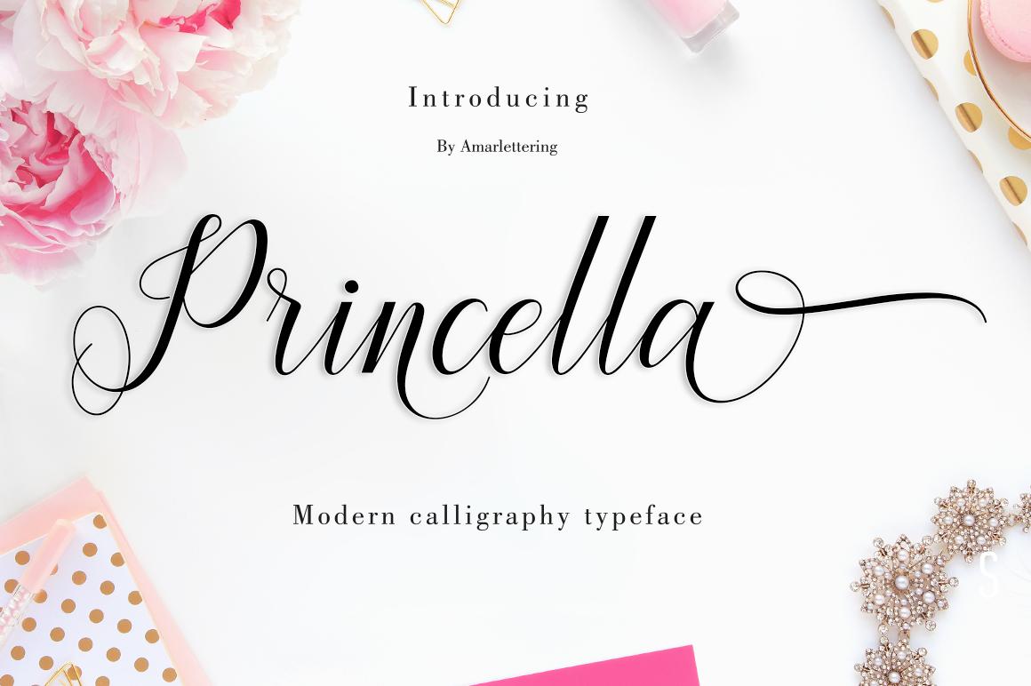 Princella Script | 5 Font example image 1
