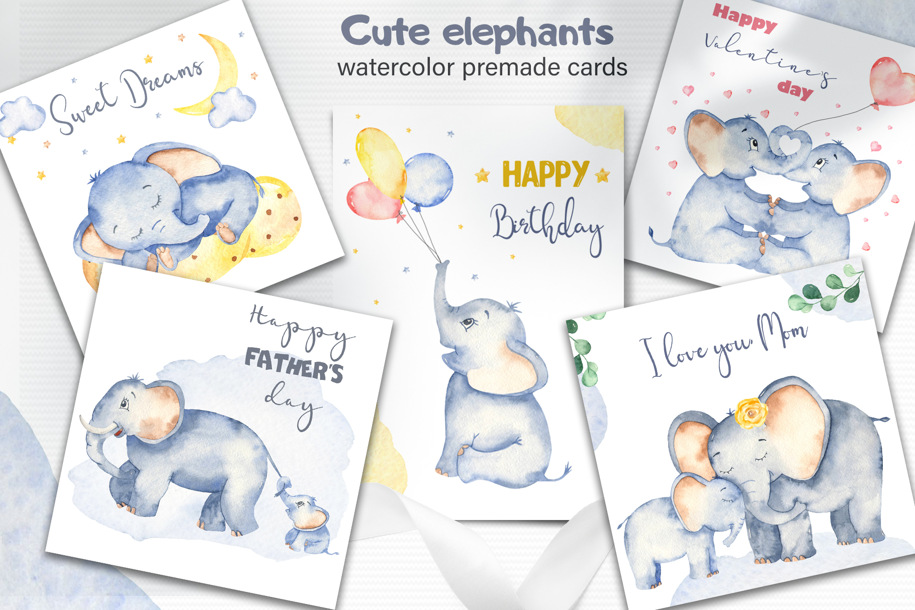 Cute elephants watercolor collection clipart example image 5