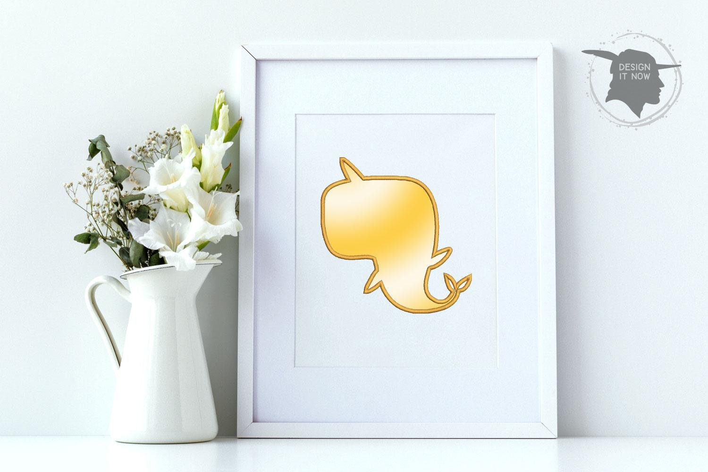 Unicorn Dolphin Applique Embroidery Design, Unicorn example image 3