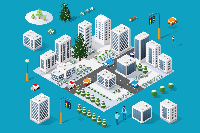 Winter city isometric city example image 1