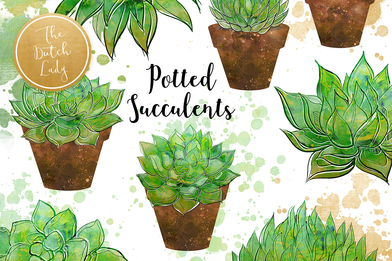 Succulent Potted Plant Clipart Set example image 1