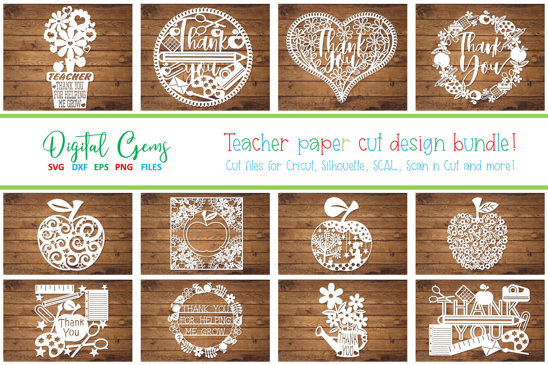 Teacher papercut bundle SVG / DXF / EPS / PNG Files example image 1