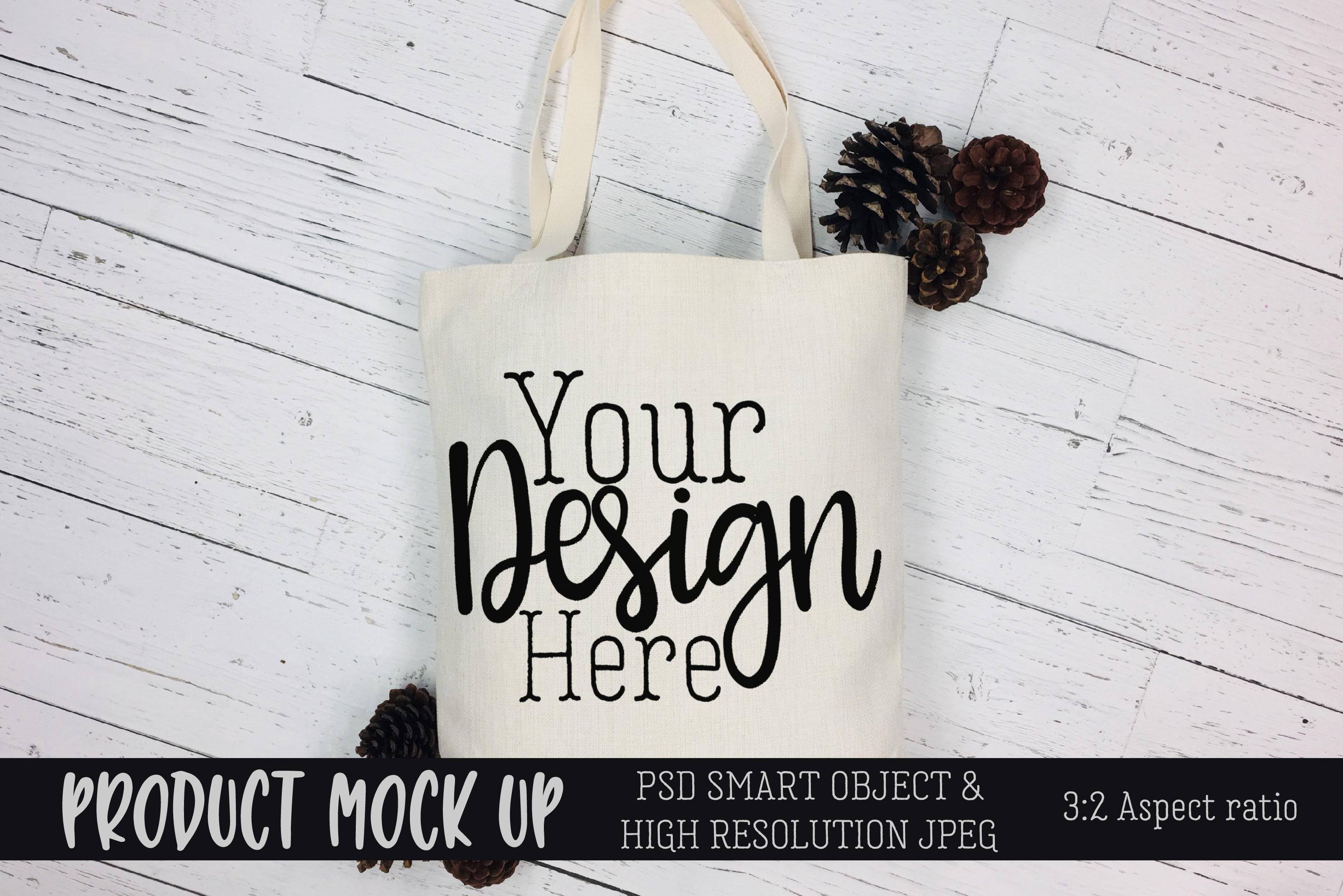 Tote bag pinecones Craft mock up | PSD & JPEG example image 1