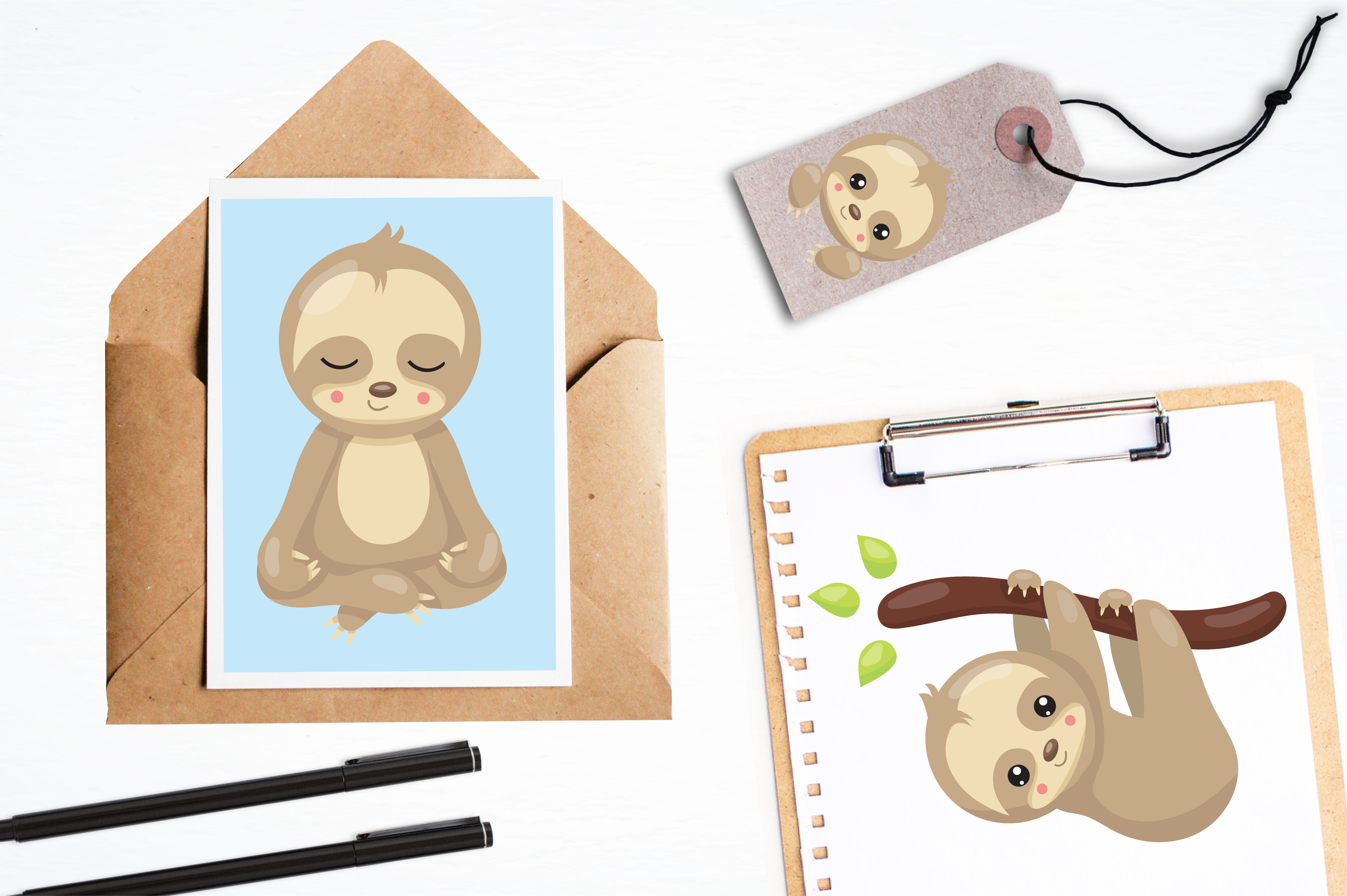 Sleepy sloth graphics and illustrations example image 4