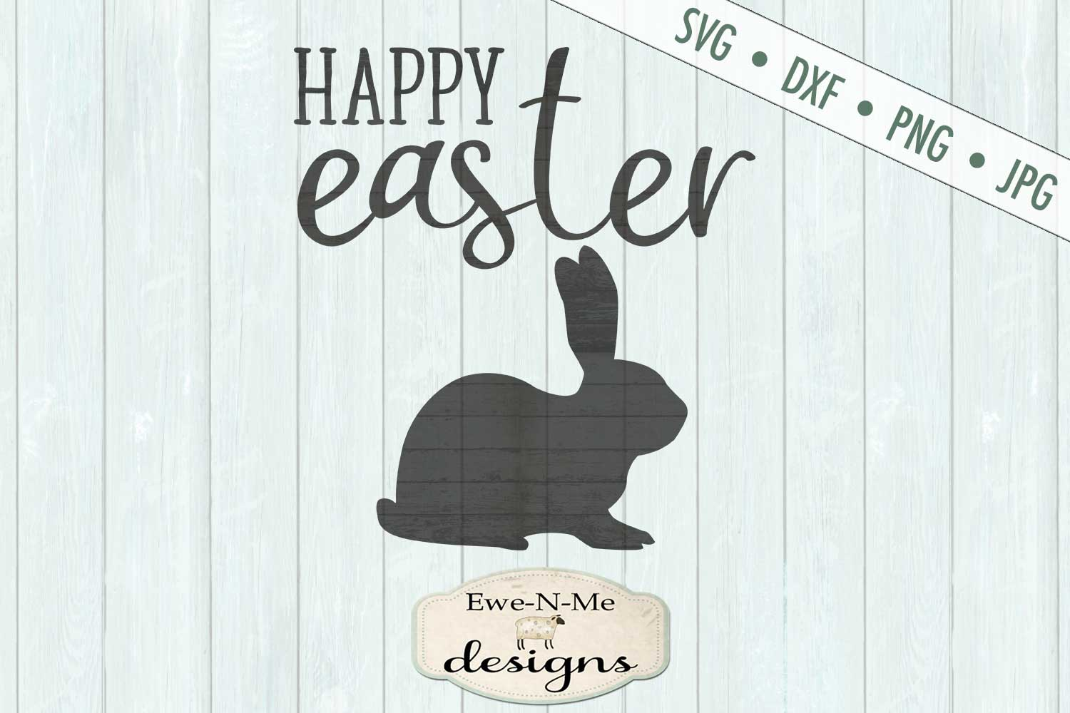 Happy Easter Bunny Easter Rabbit SVG DXF Cut File example image 2