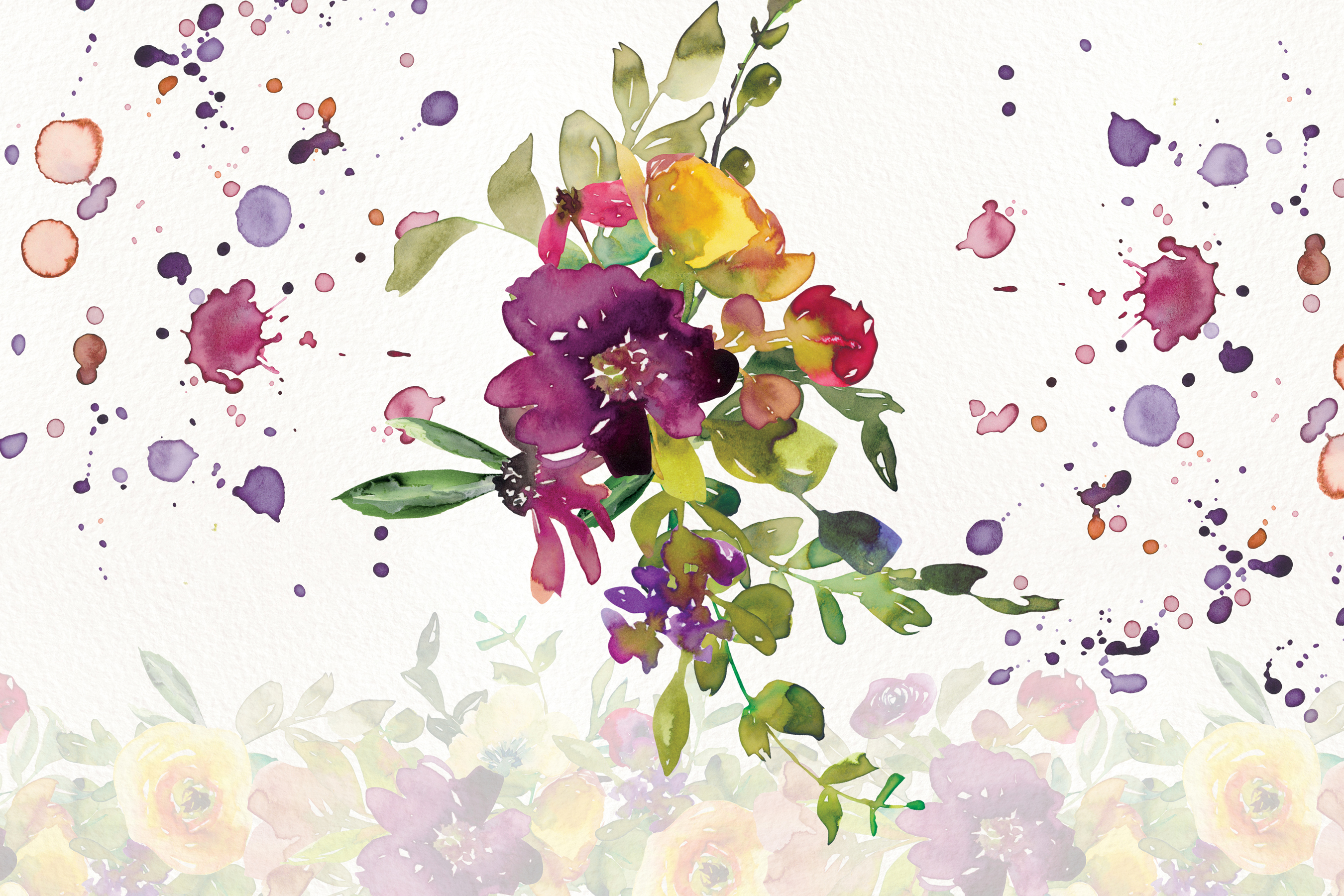 Watercolor Burgundy and Yellow Floral Bouquet Clipart example image 5